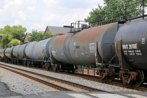 Tank cars move through Marietta, Ga., on July 20, 2015. (Photo by Todd DeFeo)