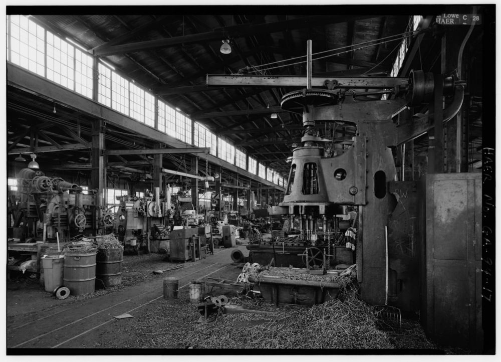 LOOKING_SOUTH_FROM_MACHINE_SHOP-ERECTING_AREA,_H.A._STOCKER_DRILLING_MACHINE_RIGHT_IN_FOREGROUND_-_Glover_Machine_Works,_651_Butler_Street,_Marietta,_Cobb_County,_GA_HAER_GA,34-MARI,2-17