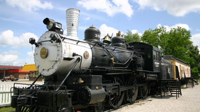 A steam locomotive is on display at the Casey Jones Museum.