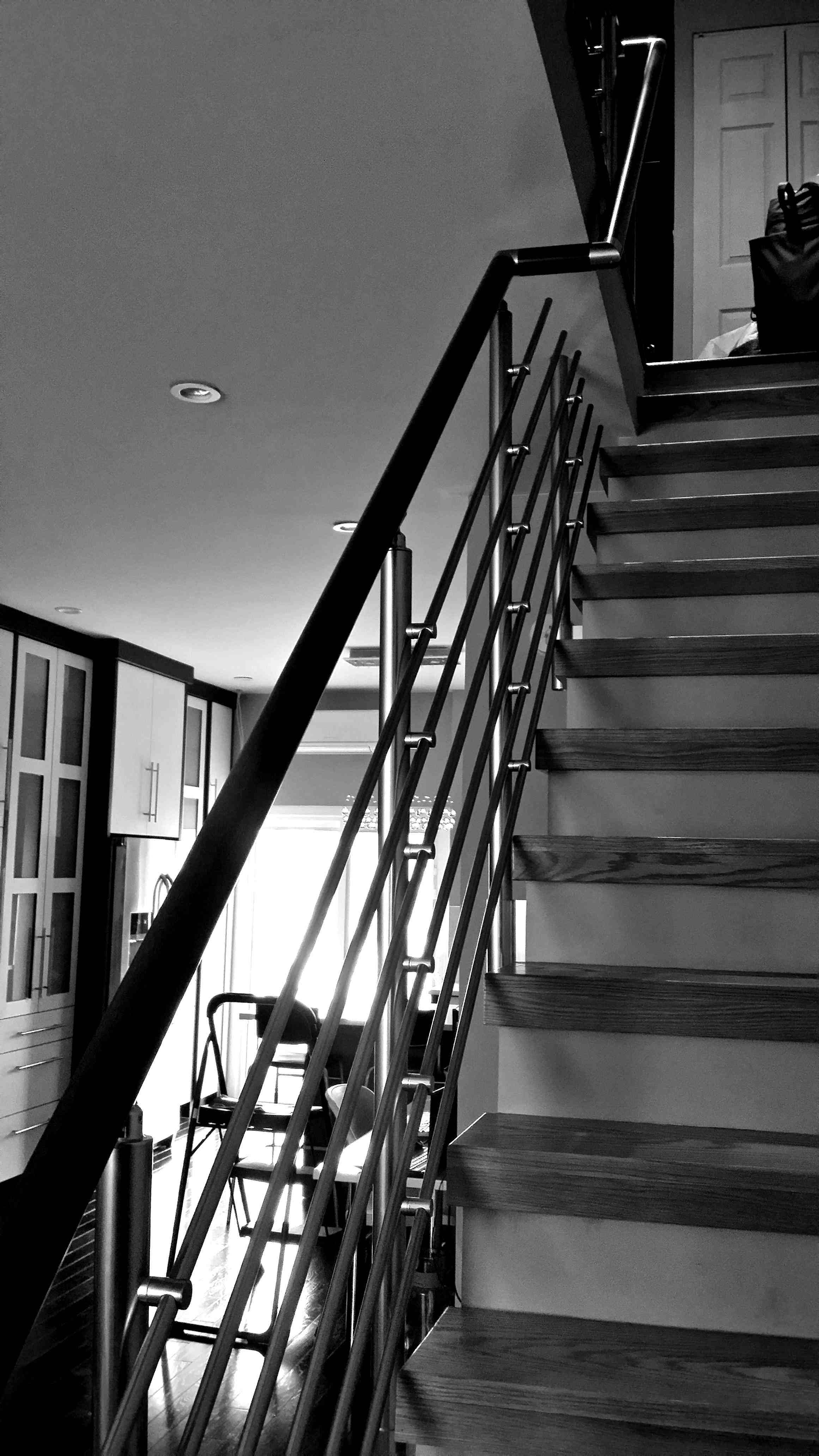 Home Default Railingco | Round Stairs Railing Design | Metal | Silver | Loft | Stainless Steel | Brown