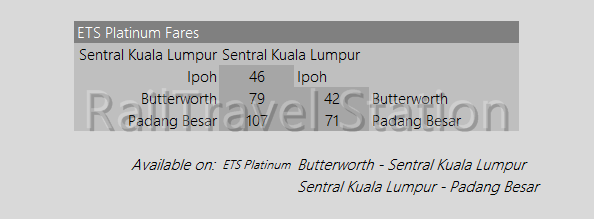 ETS Platinum | Fastest Malaysia Train Tickets, ETS Seating Plans