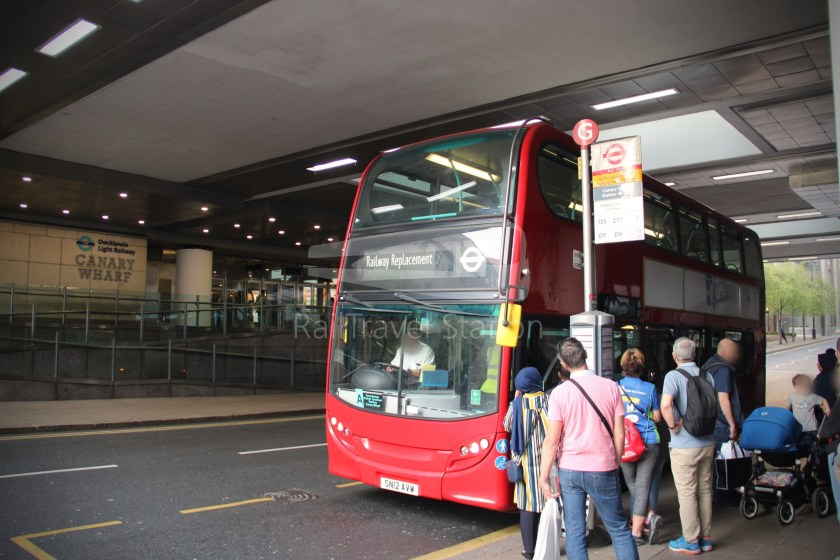 DLR Rail Replacement Bus Service A Tower Gateway Canary Wharf 049