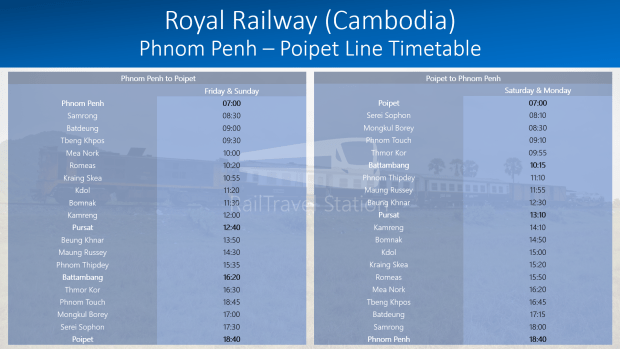 Royal Railway Cambodia Phnom Penh Poipet Line Timetable 20190712.png
