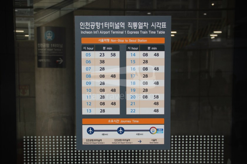 AREX Express Train Incheon International Airport Terminal 1 Seoul Station 022