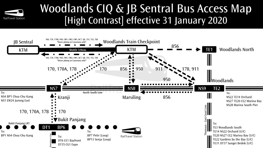 Woodlands CIQ & JB Sentral Bus Access Map High Contrast effective 31 January 2020