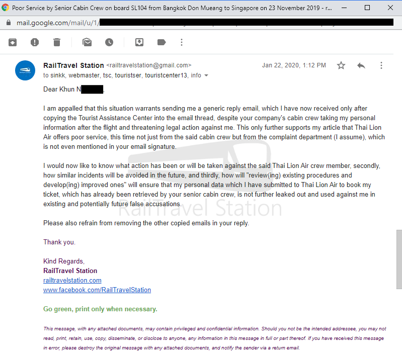 Thai Lion Air Complaint Screenshot 006