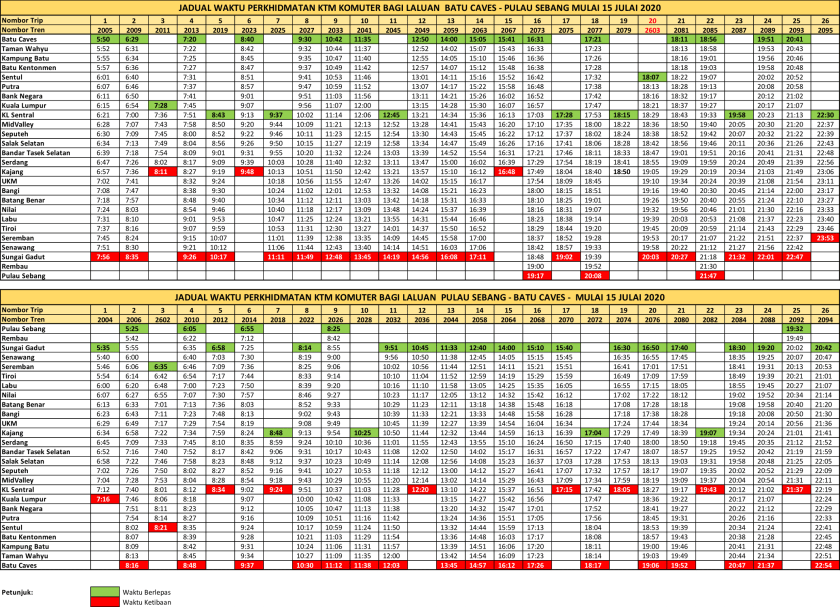 KTM Komuter Timetable Batu Caves Tampin 20200715
