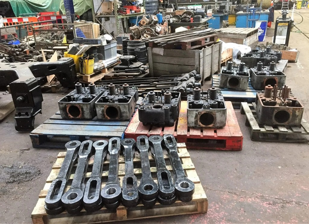 Sulzer engine cylinder heads await overhaul