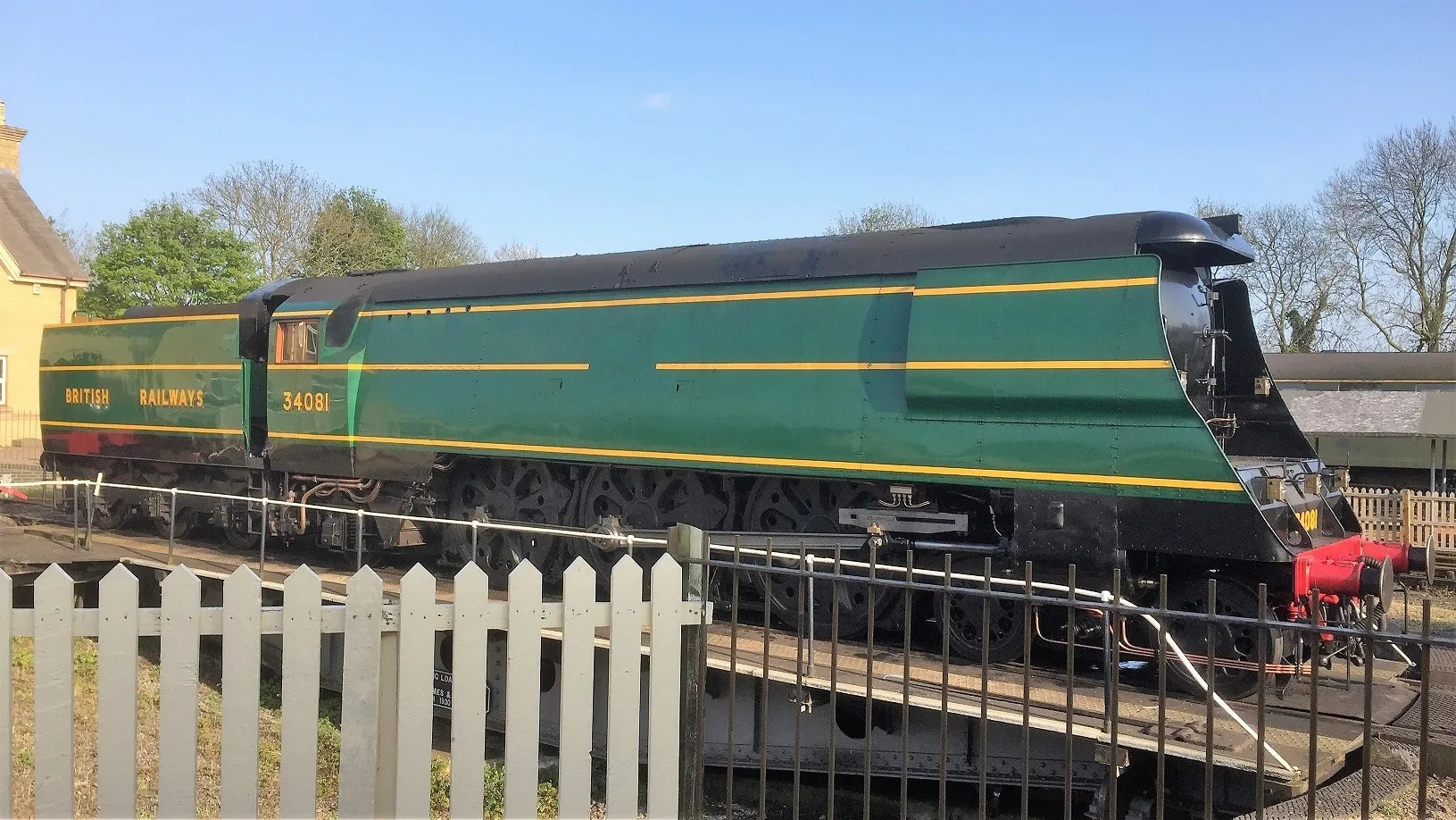 34081 92 Squadron on the turntable at Wansford on the Nene Valley Railway