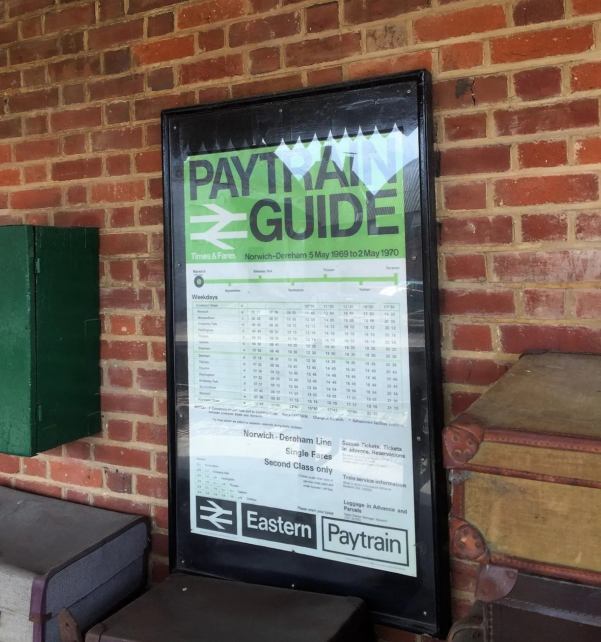 Double Royal size poster advertising PayTrain fares. Once a very common sight in East Anglian.