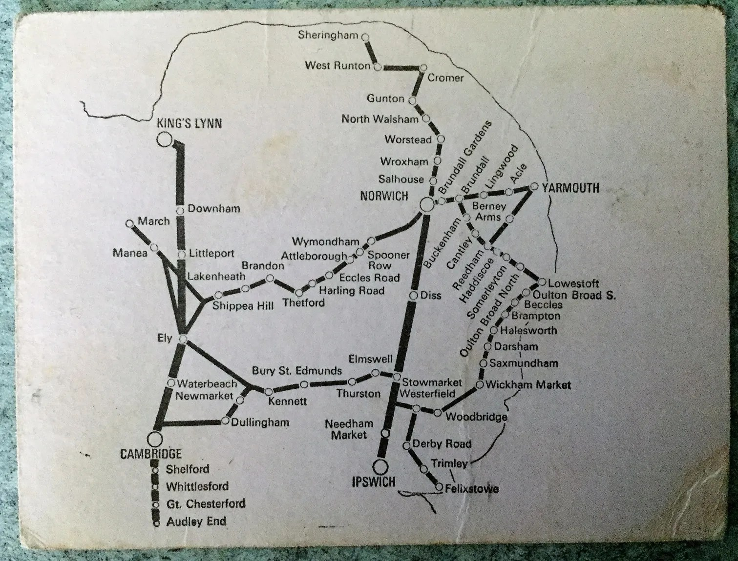 Rear of Anglian Ranger ticket showing area covered by the British Rail Eastern Region Rover