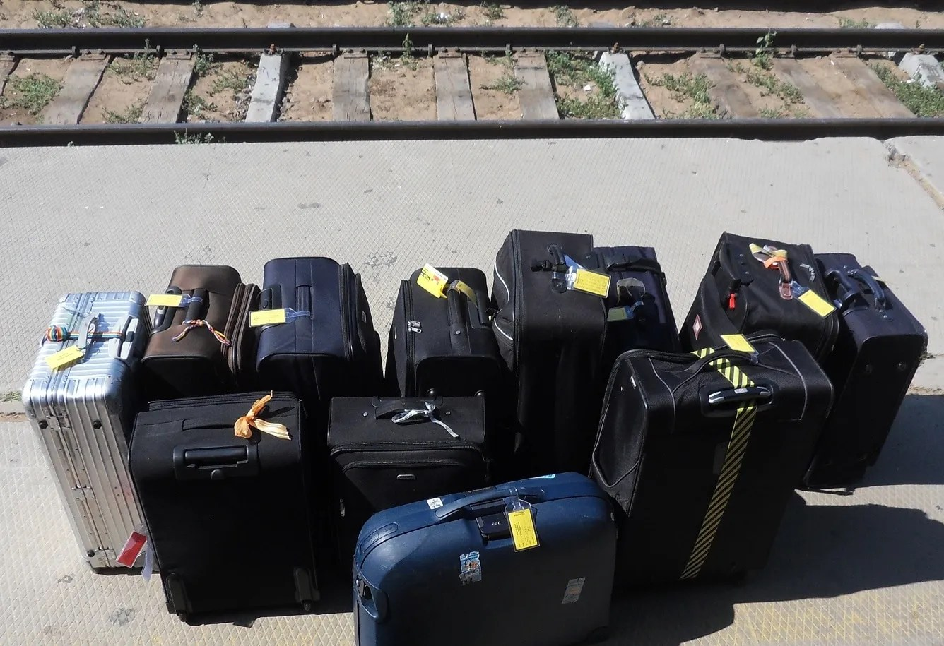 excessive luggage on trains platform
