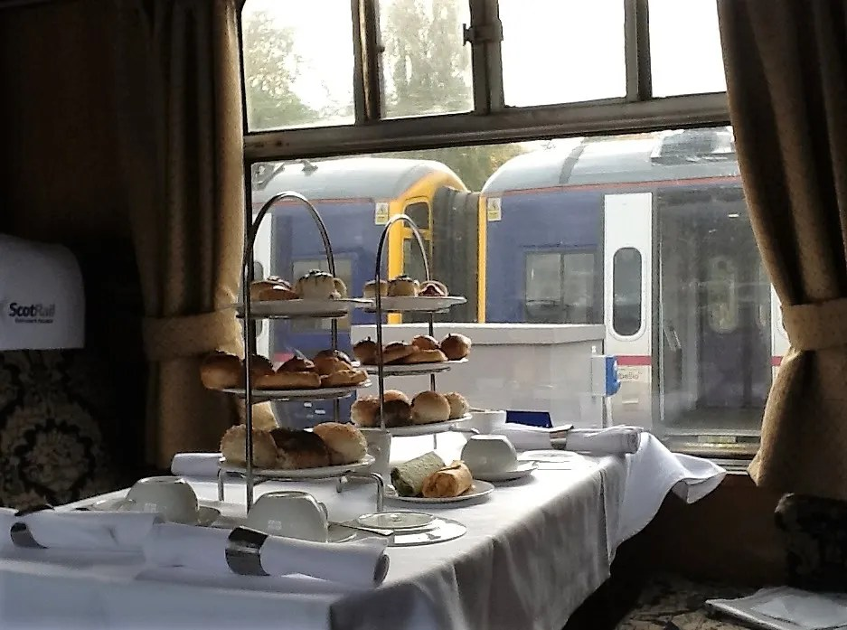 Afternoon tea on train at Tweedbank