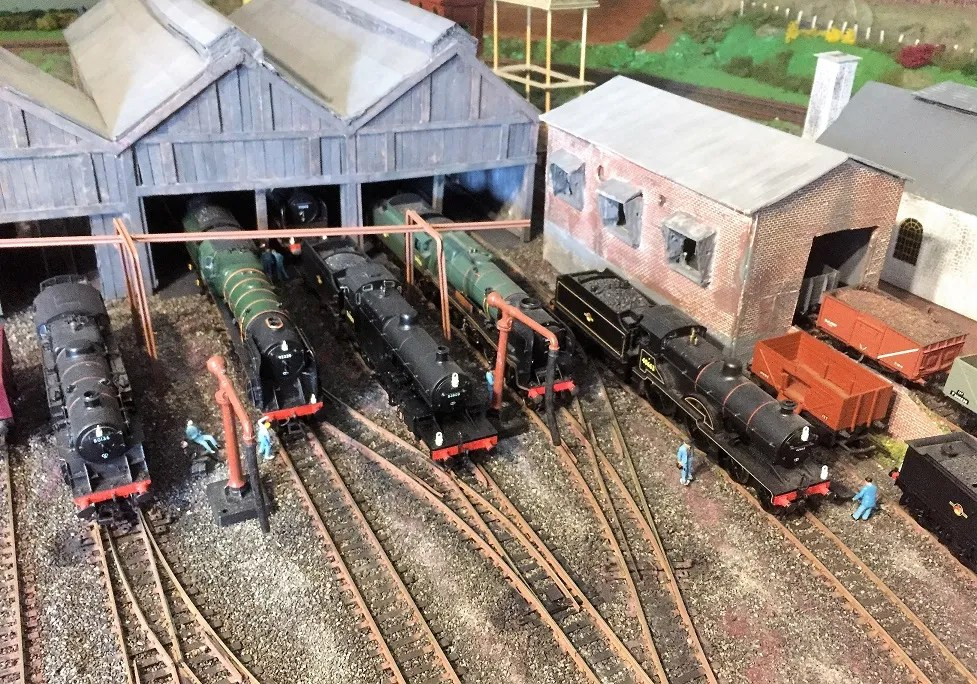 Ariel view of model railway 00 gauge shed