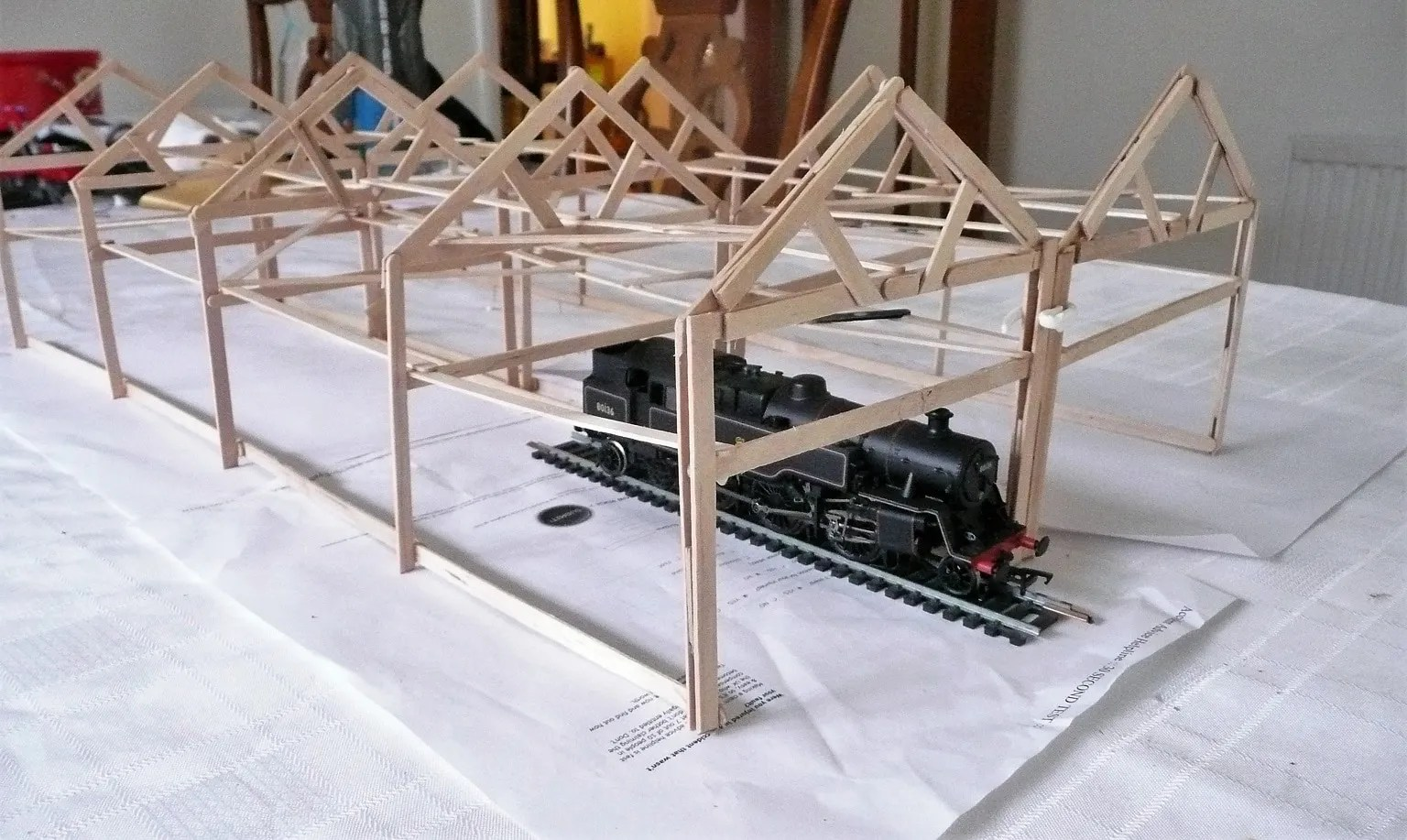 Gauge testing of the build model railway shed with a locomotive - 00 guage