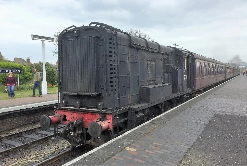 Class 11 12131 on empty coaching stock duty at Sheringham