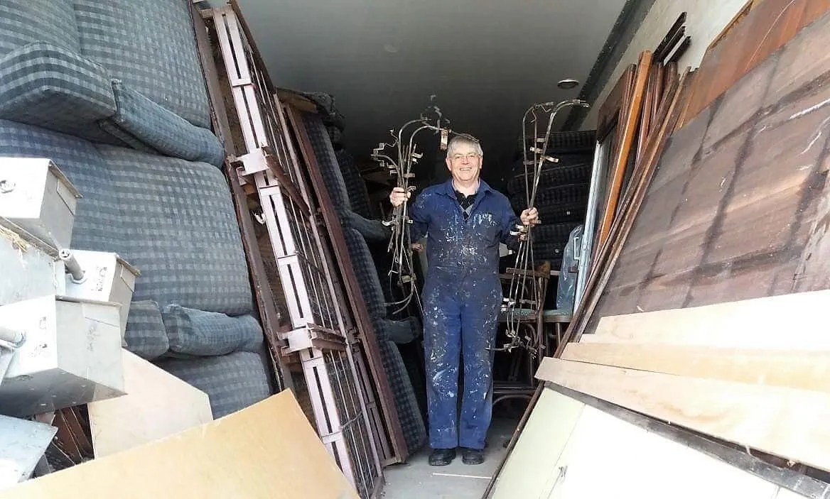 railway carriage full of spare parts