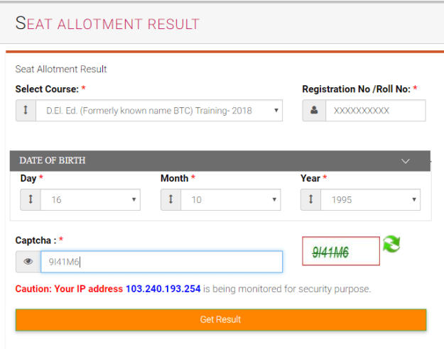 UP BTC Seat Allotment Result 2018