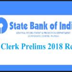 sbi clerk JA pre resullt 2018