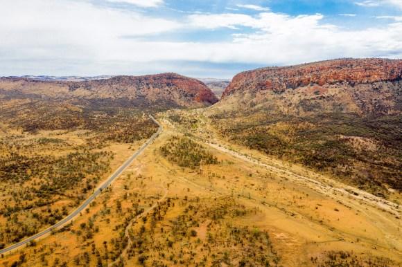 The Ghan train Australia Simpson gap drone