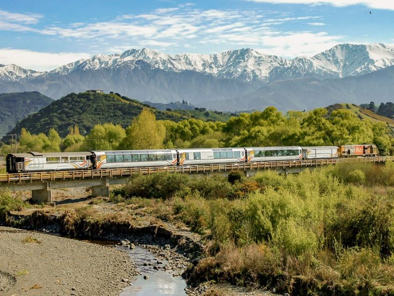 coastal pacific train New Zealand hero