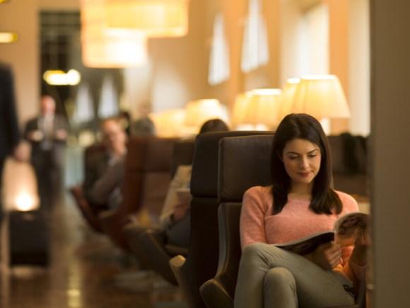 eurostar business lounge woman sitting