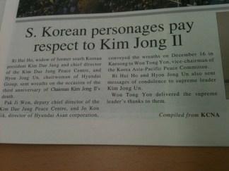 Illegal snaps of N.Korean newspapers.