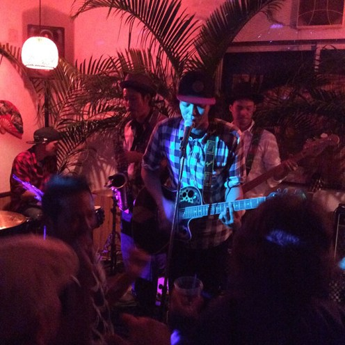 The Kaname izakaya/bar down the hill parties hard about once a year, revamping the entire space with palm leaves and strobe lights.