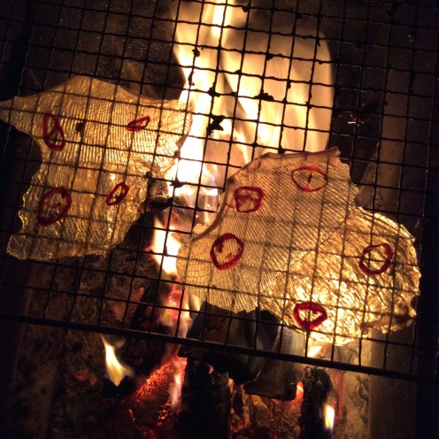 Roasting spicy manta ray skin over a fire outside during sake-filled raucous New Years festivities.
