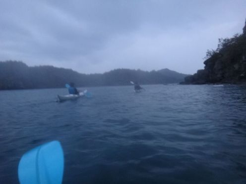 We rose at 3 am to kayak on choppy waves, with a strong wind working against us, and brief rain interrupting us. It was really tough and I flipped over.