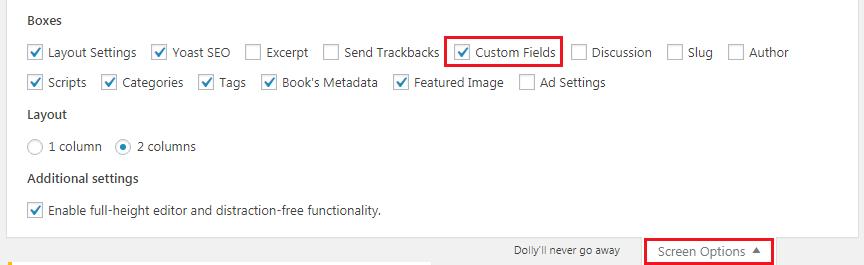 Enabling Default WordPress Custom Fields Option
