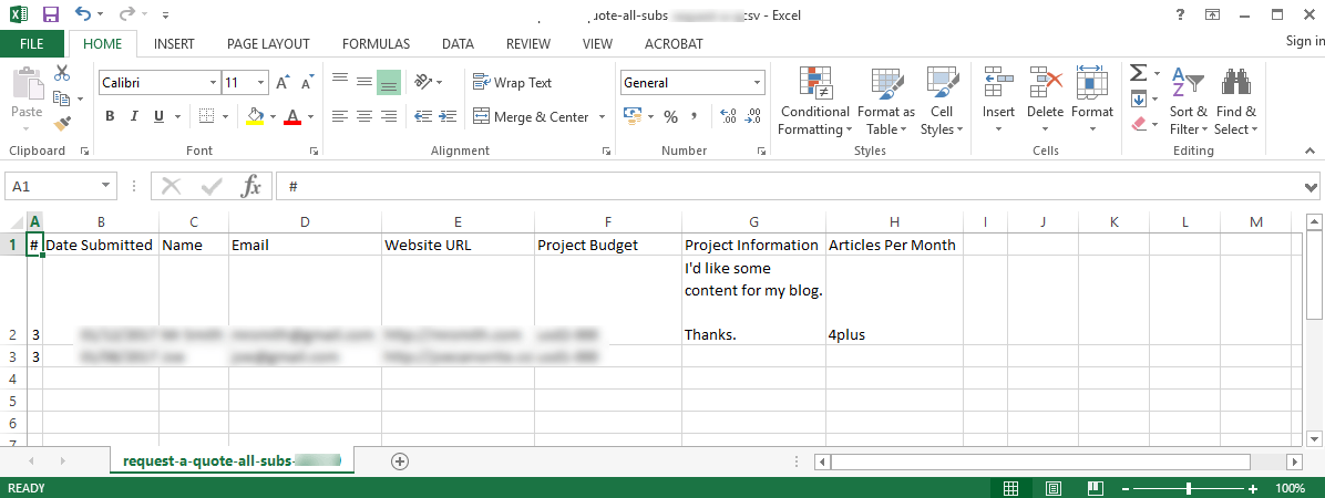Exported Form Submissions to CSV for analysis on Spreadsheet as Excel