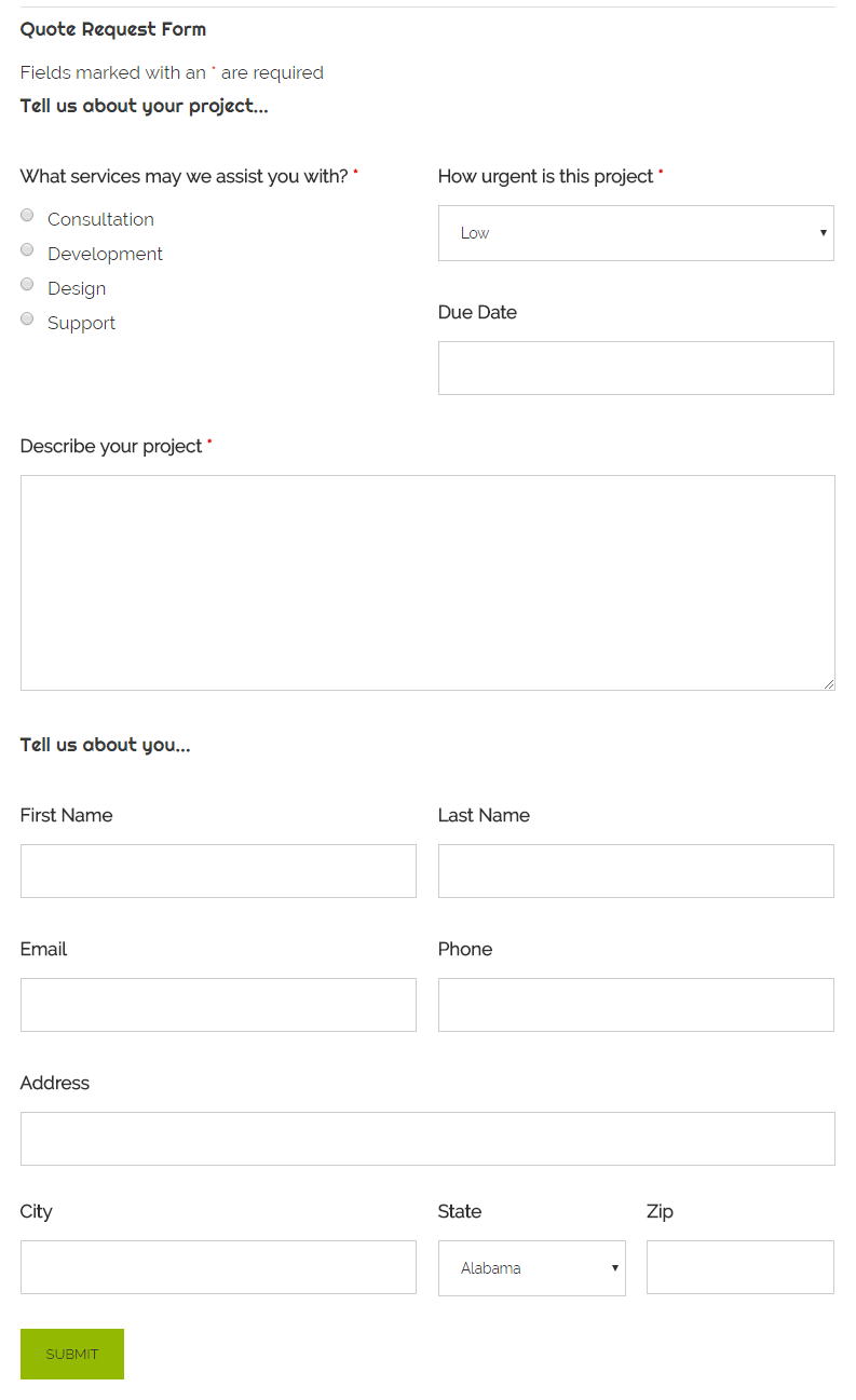 Quote Request Form Preview
