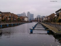 inner docks view to Canary Wharf