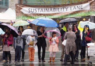 umbrellas in the rain parade