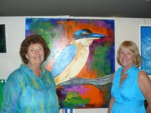 "Organisers Bev. Starr and Peggy Howe with Bev's Acrylic, ""Kingfisher"""