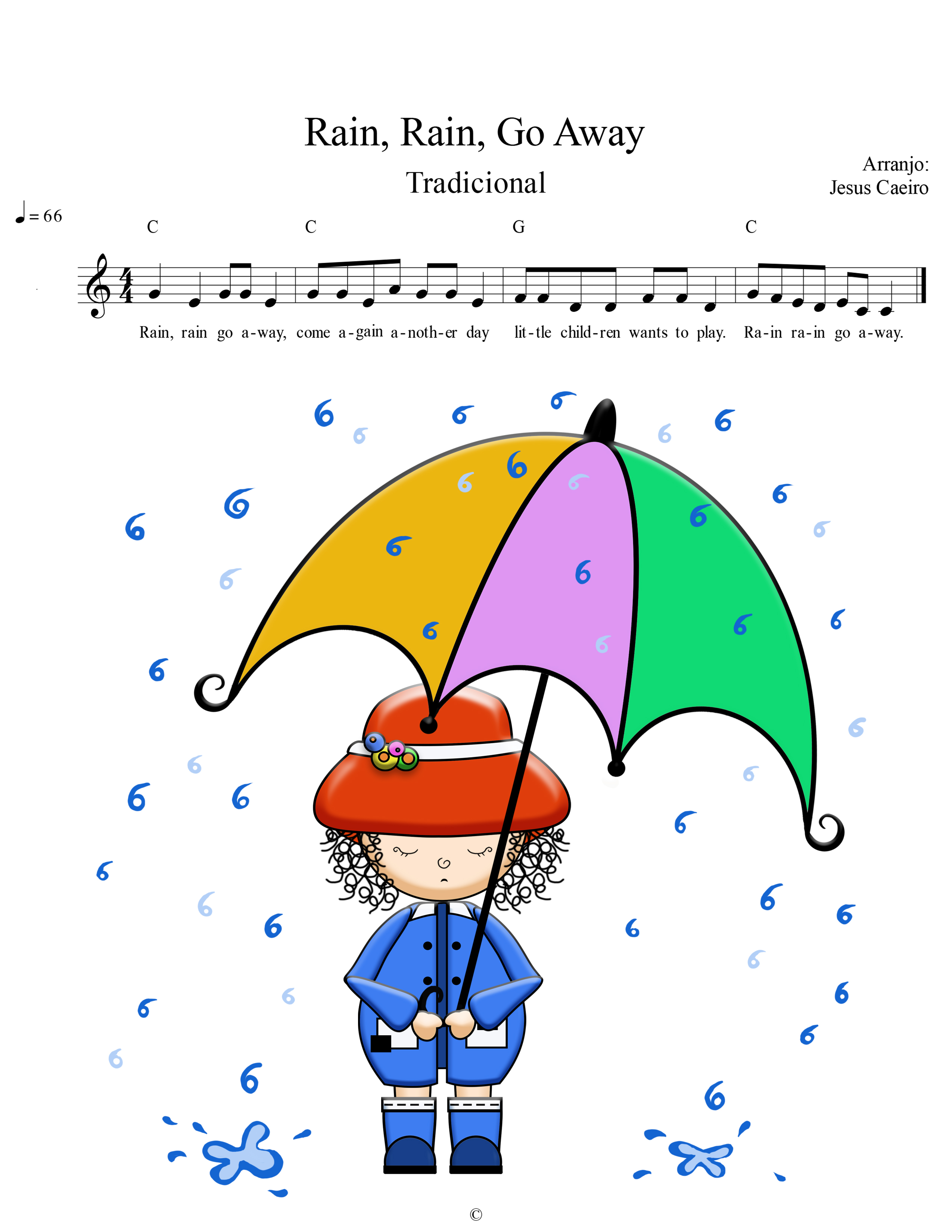 Rain Rain Go Away Tablature Rainbow Kids Tv