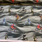Bomullsjersy med motorsykler
