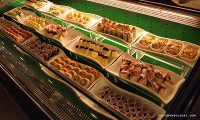 Sambo Kojin's wide array of sushi and sashimi