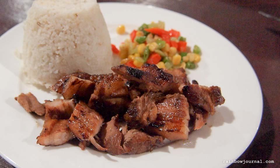Grilled pork belly at Gota Village Caramoan