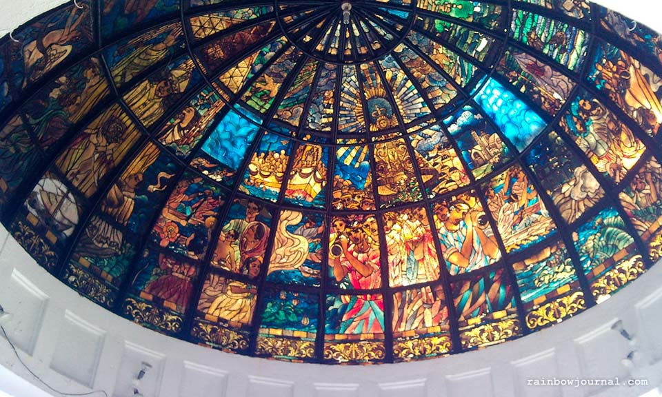 Stained glass on gazebo in front of Naga Metropolitan Cathedral