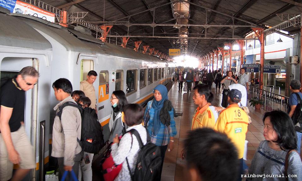 Train from Yogyakarta to Surabaya on our way to Mt Bromo