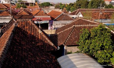 A view from the roofdeck and restaurant of Merbabu Hotel in Malioboro Street, Yogyakarta