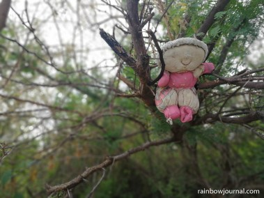 This doll hanging on a tree at Tandoyong Island near Tondol White Sand Beach creeped me out.