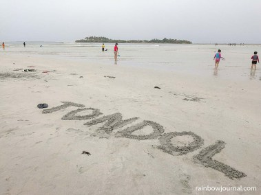 My sand writing at Tondol White Sand Beach