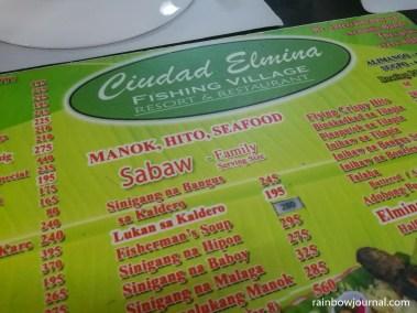 Ciudad Elmina menu