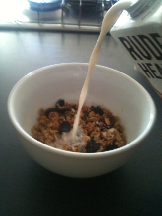 another bowl of granola with almond milk because I loved it so much.