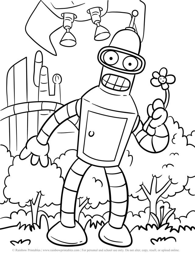 Funny Bender Rodriguez (Futurama) Cartoon Coloring Pages - Robot