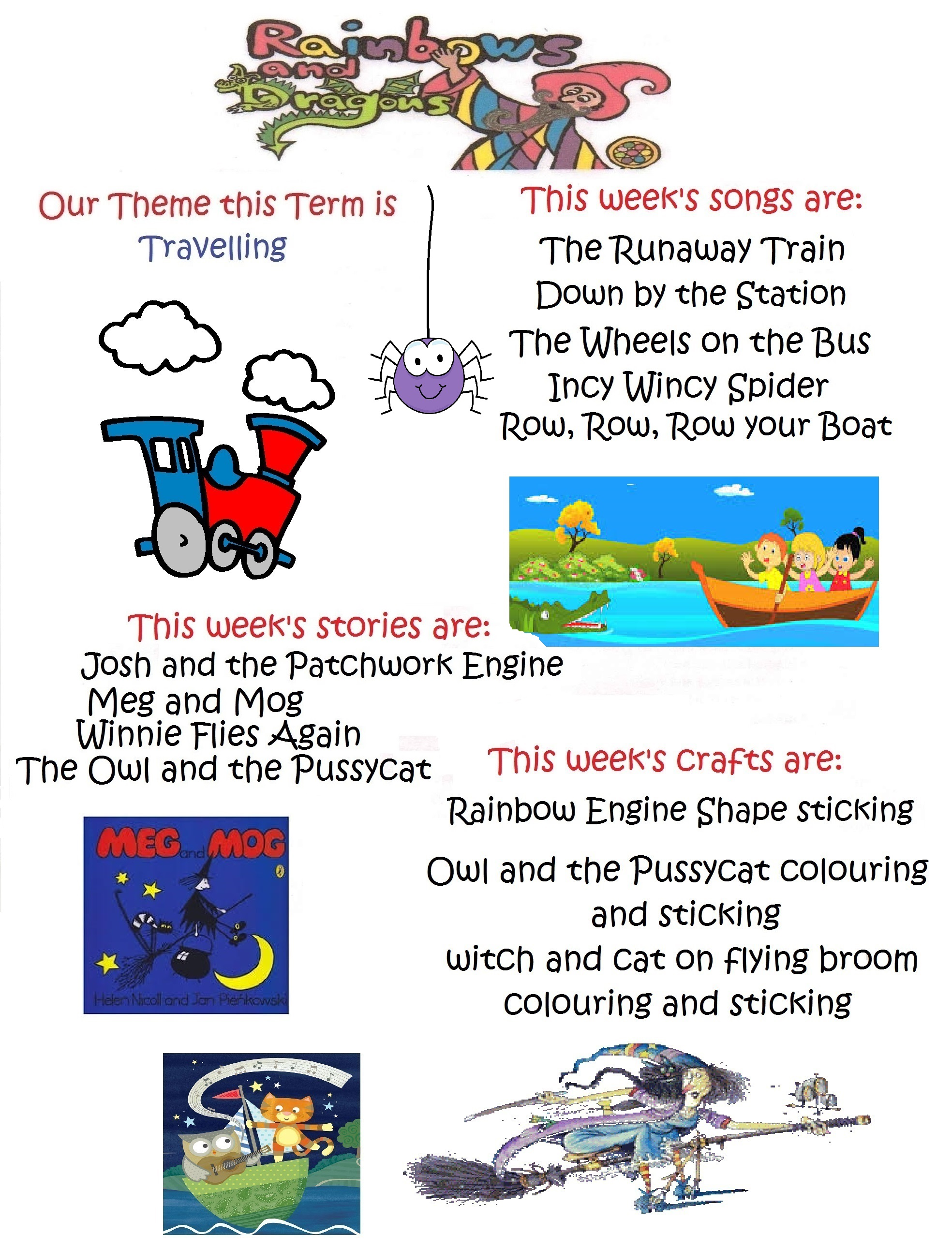 Travelling Theme This Week Meg And Mog Rainbow Rune