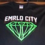 Black Emrld City vinyl heat transfer t-shirt